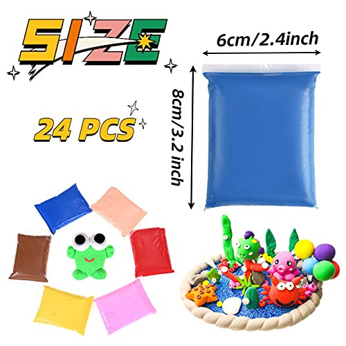 24 Colors Air Dry Clay,Magic Clay with Tools,Ultra Light DIY