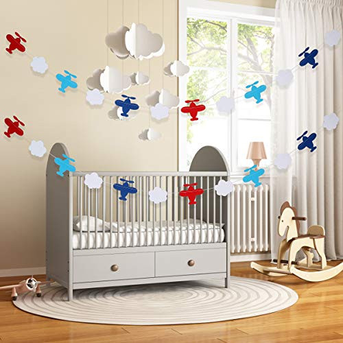 2Pcs Airplane Clouds Garland for Airplane Themed Birthday