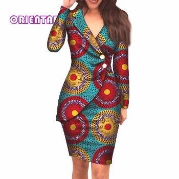 2019 Autumn African Dresses For Women Fashion Office Style V Neck Long Sleeve Midi Dress Bazin Rich