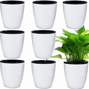 8 Pcs Self Watering Planters White Flower Pots with Inner
