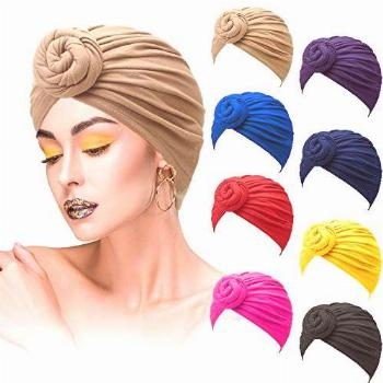 8 Pieces African Pattern Knot Headwrap Turban Pre-Tied