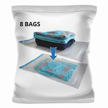 8 Travel Space Saver Bags. Pack of 8 Bags with Sizes Medium