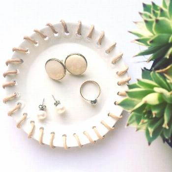Air dry clay jewelry dish: WHITE & LEATHER by 12thBoutique on Etsy