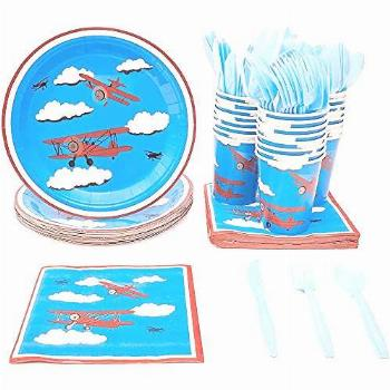 Airplane Party Supplies – Serves 24 – Includes Plates,