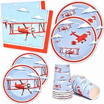 Airplane Party Supplies Tableware Set 24 9