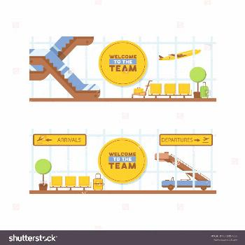 Airport vector departure arrival terminal airports building escalator seat in illustration backdrop