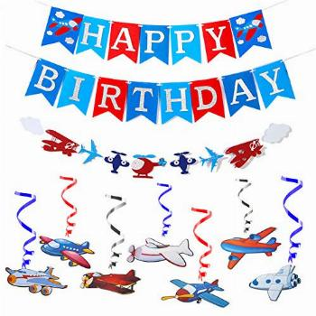 Cooper life Airplane Party Decoraton Favor Supplies,Silver