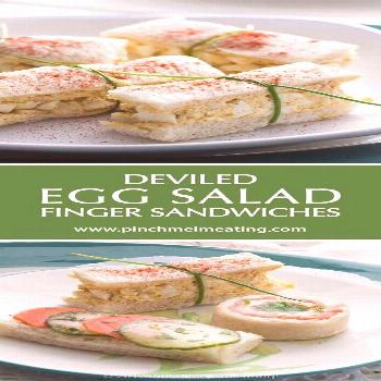 Deviled egg salad finger sandwiches are a classic for afternoon tea! Find these and other tea sandw