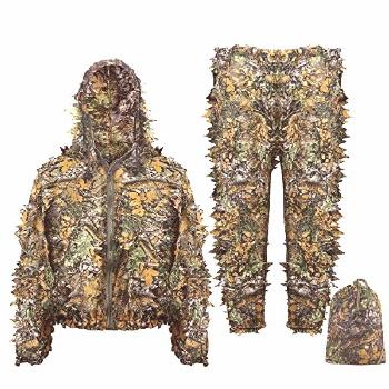 Eamber Ghillie Suit 3D Leaf Realtree Camo Youth Adult Lightweight Clothing Suits for Jungle Hunting