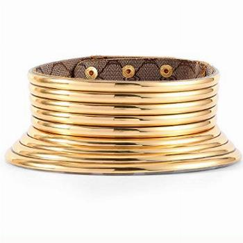 Fstrend African National Choker Collars Gold Leather Chunky