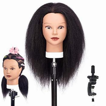 HAIREALM Afro Mannequin Head 100% Human Real Hair
