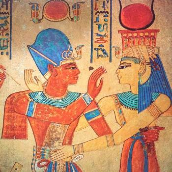 Isis embraces Pharaoh Ramesses III    The goddess Isis...