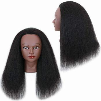 Mannequin Head with Human Hair - Afro Cosmetology Mannequin