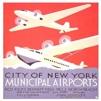 Painting - New York City Municipal Airports - Vintage Illustrated Poster by Studio Grafiikka ,