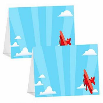 POP parties Red Airplane - 12 Table Tents - Airplane Buffet