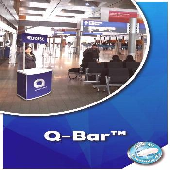 Q-Bar™ Setting up help-booths has never been easier! The sophisticated & convenient Q-Bar™ feat