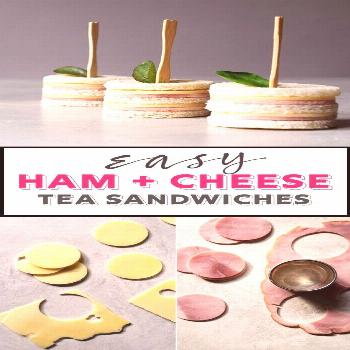 Totally cute ham and cheese sandwiches. A perfect finger food for afternoon tea,...