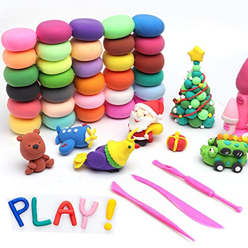 Air Dry Clay, 24Pcs Modeling Clay Set with Sculpting Tools,