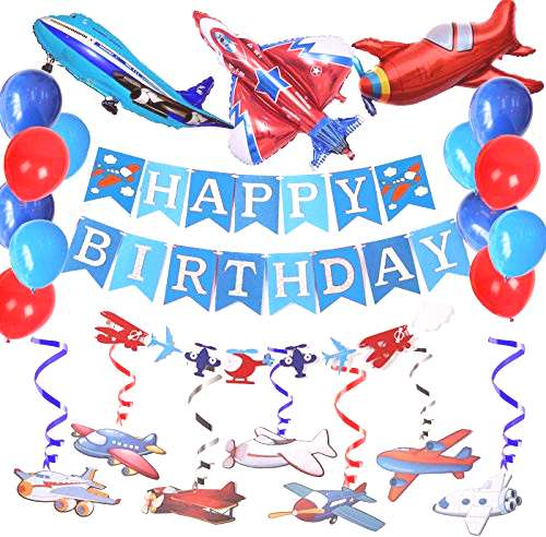 Airplane Aviator Themed Party Decoration-Silver Glitter