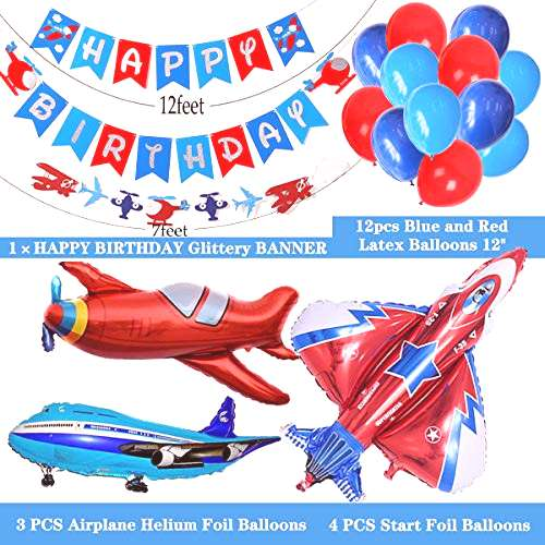 Airplane Aviator Themed Party Supplies,Silver Glitter