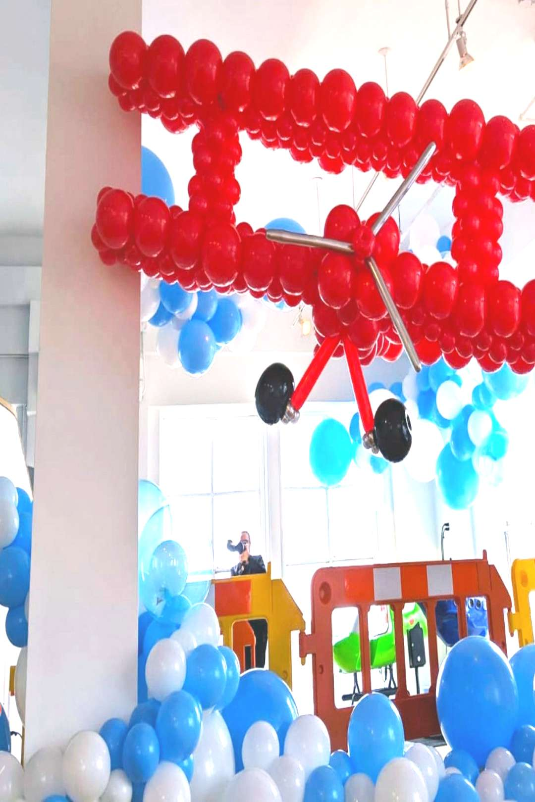 Airplane amp Clouds Balloon party Boy birthday party, airplane in the clouds