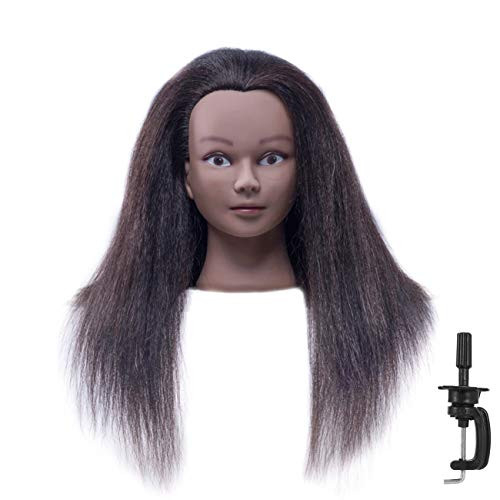 CZFY African American Mannequin Head with 100% Real Hair and