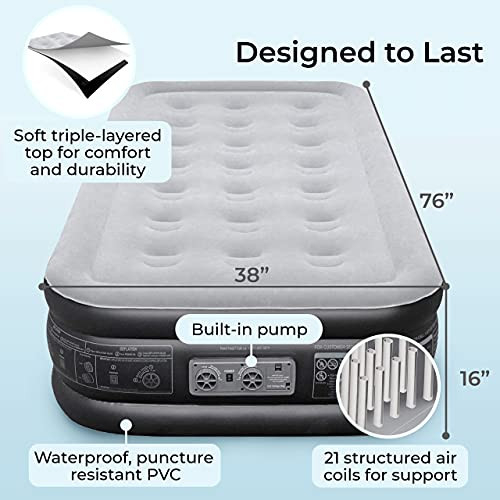 EZ INFLATE Double High Luxury Twin Air Mattress with Built