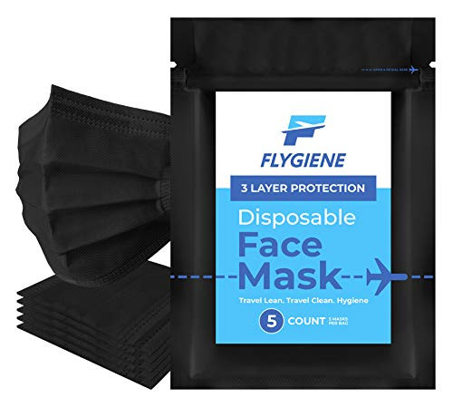 FLYGIENE Travel Size Face Mask | 5 Count | Breathable Travel
