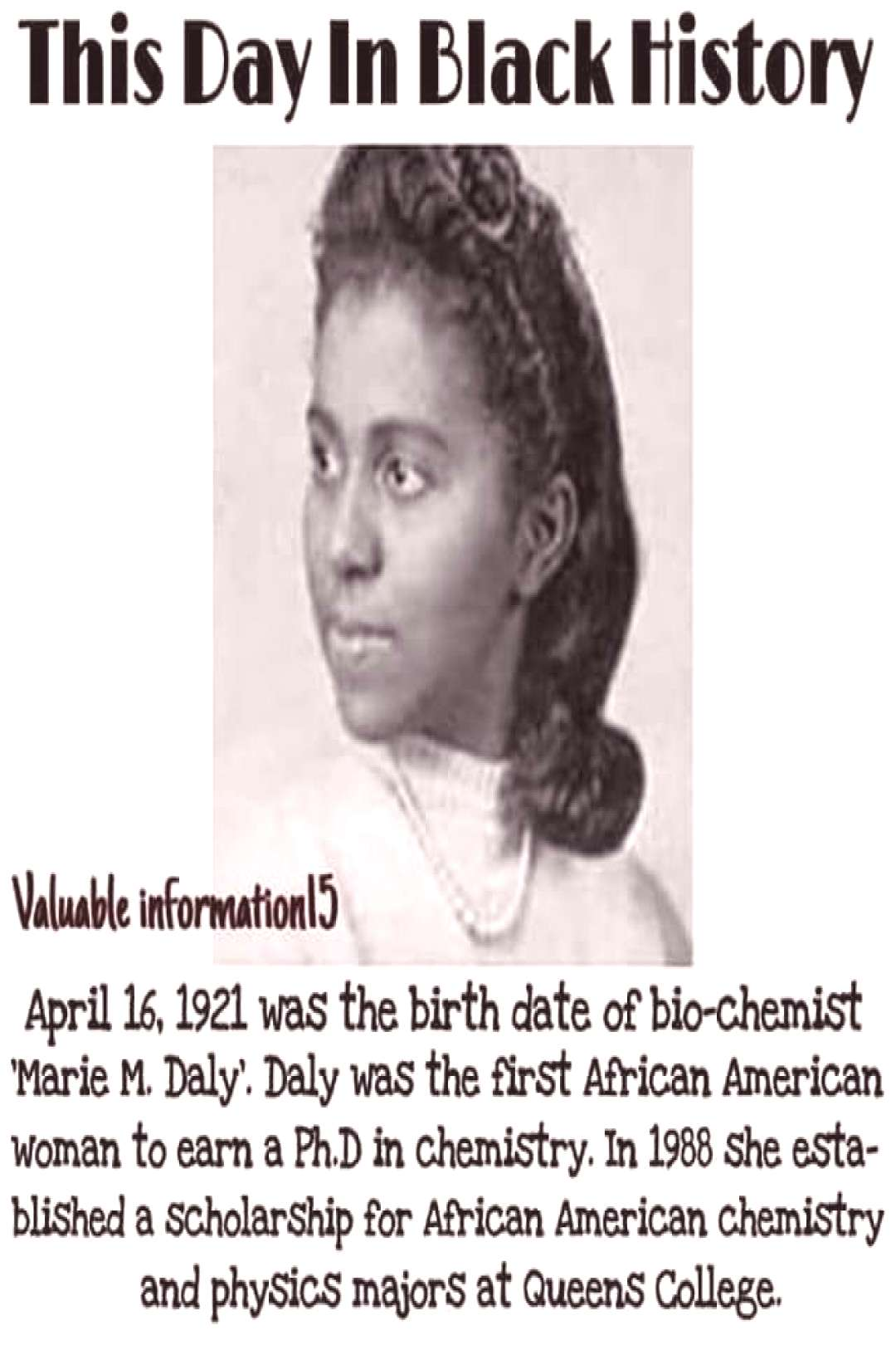 Image may contain 1 person, text that says This Day In Black History Valuable informationl5 April