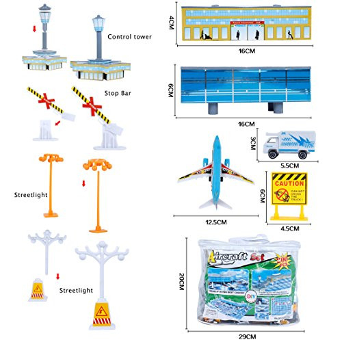International Airport Assembled Toy 8 Planes and 8 Vehicles
