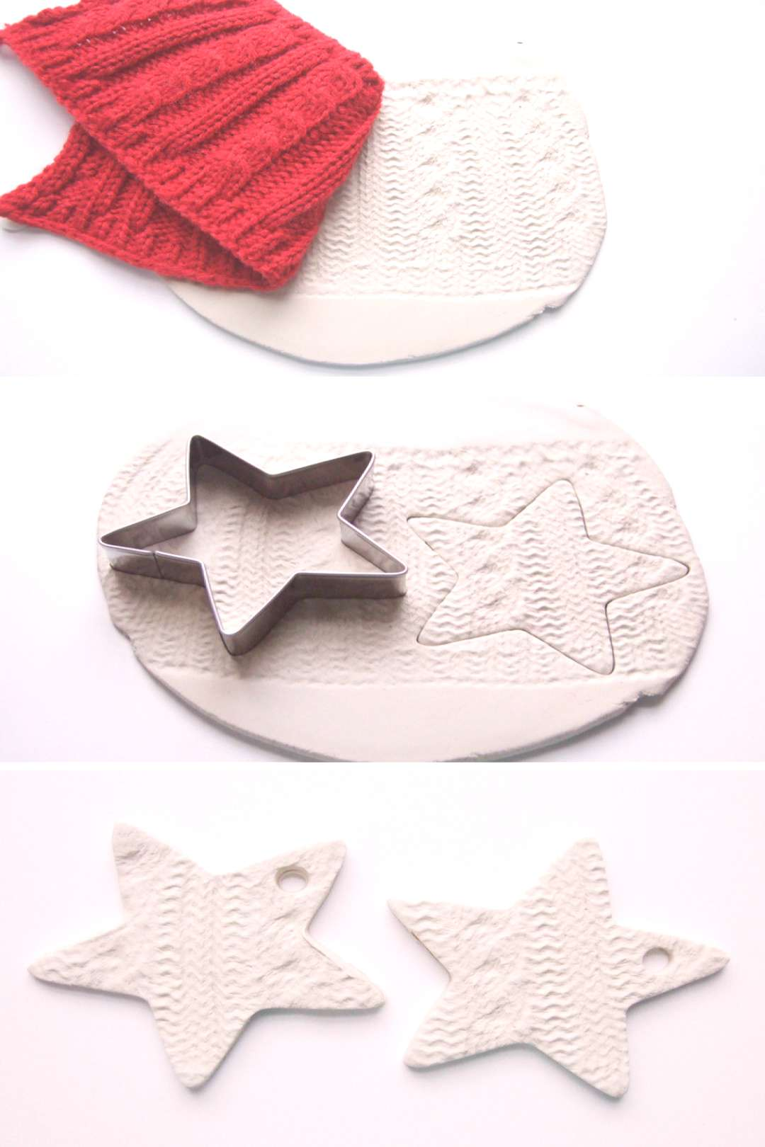 make air dry clay knitted embossed christmas star decorations