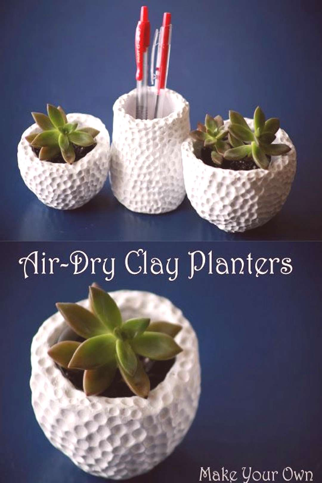 Make Your Own Air-Dry Clay Succulent Planters