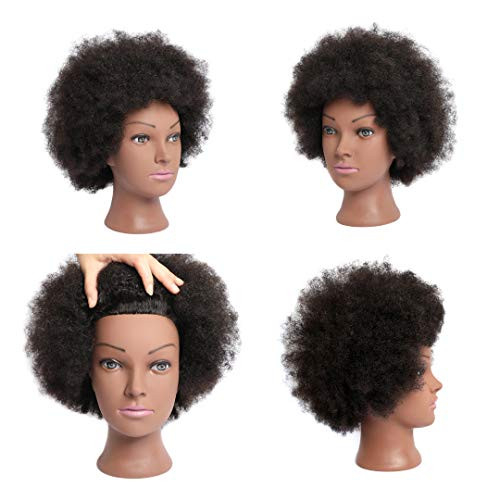 Phamb Afro Mannequin Head with 100% Human Hair for Practice
