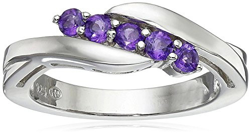 Sterling Silver Genuine African Amethyst Five Stone Bypass