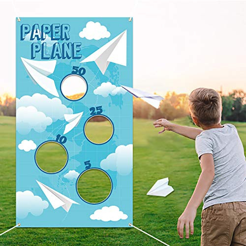 TICIAGA Paper Plane Toss Game Banner, Throwing Target Banner