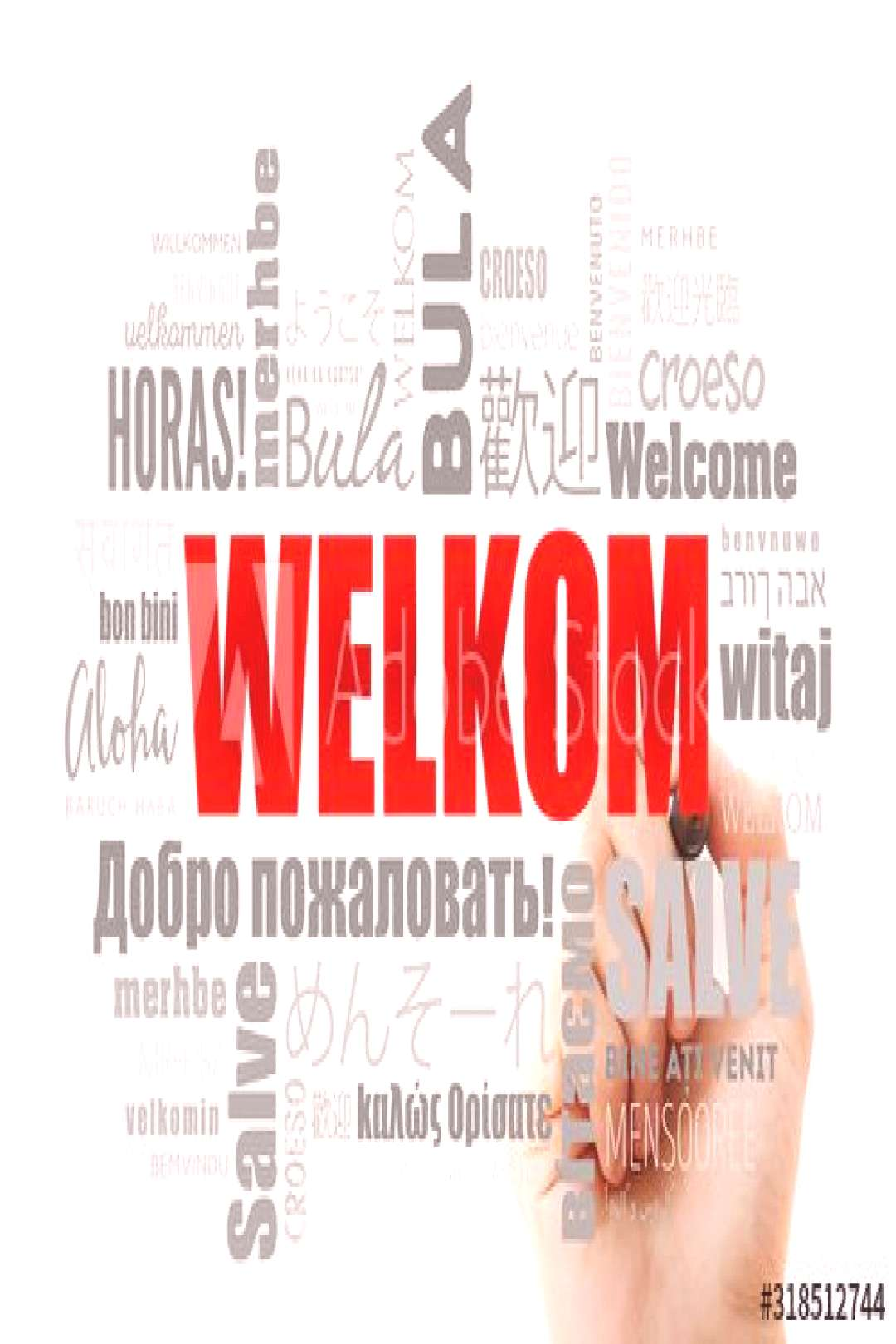 Welkom (Welcome in Afrikaans) word cloud with marker in different languages ,